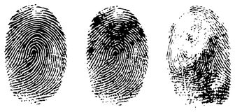 Verschiedene schwarze Fingerabdrücke Stockbild