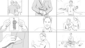 Verschiedene Situationen mit einem junger Mann Storyboard Lizenzfreie Stockfotos