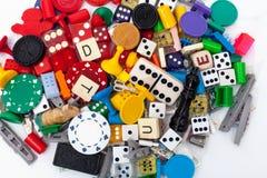 Verschiedene Spielstücke Stockfotografie