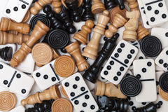 Verschiedene Spielstücke Stockfoto