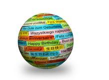 Verschiedene Sprachen alles Gute zum Geburtstag auf Bereich 3d lizenzfreie stockbilder