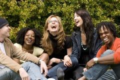 Verschiedene sprechende und lachende Gruppe von Personen Stockfoto