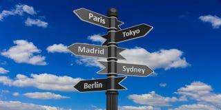 Verschiedene Städte auf Pfeilspitzen auf Wegweiser lizenzfreie abbildung
