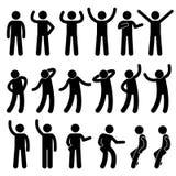Verschiedene stehende Lage-Haltungs-menschliche Mann-Leute-Stock-Zahl Stickman-Piktogramm-Ikonen Lizenzfreies Stockfoto