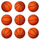 Verschiedene Stellungen von Basketbällen Lizenzfreies Stockbild