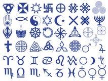 Verschiedene Symbole geschaffen von der Menschheit Lizenzfreies Stockfoto