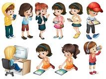 Verschiedene Tätigkeiten von jungen Frauen Lizenzfreies Stockfoto