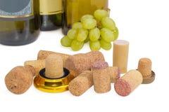 Verschiedene traditionelle und synthetische Weinkorken auf einem hellen backgr Stockfoto