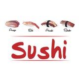 Verschiedene Typen der Sushi Stockfotografie