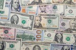 Verschiedene US-Dollar Banknote Stockbilder