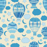 Verschiedene Varianten der Farbe sind möglich abstrakte, glatte Linien, viele, nahtloses Muster, Ballon, Luftfahrzeug Stockbilder