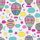 Verschiedene Varianten der Farbe sind möglich abstrakte, glatte Linien, viele, nahtloses Muster, Vektor, Ballon, Luftfahrzeug Stockbild