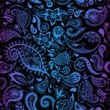 Verschiedene Varianten der Farbe sind möglich Nahtlose ausführliche Blumenillustrationen Gekritzelart, entspringen Blumenhintergr Stockbild