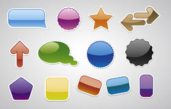 Verschiedene Vektorbadgets, Art des Webs 2.0 Stockbilder