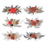 Verschiedene Vektorblumenblumensträuße lokalisiert auf weißem Hintergrund Von Hand gezeichnet Abbildungen Design für Einladung, H Stockfotografie