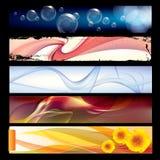 Verschiedene Vektorschablonenfahnen mit buntem abstraktem Hintergrund lizenzfreie abbildung
