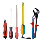 Verschiedene Werkzeuge auf einem weißen Hintergrund stockbild