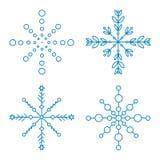 Verschiedene Winterschneeflocken blau auf Weiß Stockfotos
