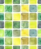 Verschiedene zeichnende Watercolourquadrate, nahtloses Muster stock abbildung