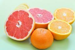 Verschiedene Zitrusfrüchte: Pampelmuse, Orange, Zitrone und Mandarine auf einem grünen Hintergrund Stockfoto