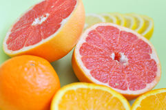 Verschiedene Zitrusfrüchte: Pampelmuse, Orange, Zitrone und Mandarine auf einem grünen Hintergrund Stockfotografie