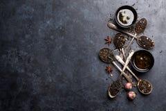 Verschiedener Tee in den Löffeln Schwarzer, grüner und roter Tee lizenzfreies stockfoto