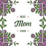 Verschiedenes aufwändiges der Vektorillustration des purpurroten rosafarbenen Blumenrahmens mit Mutter ich liebe dich beschrifte stock abbildung