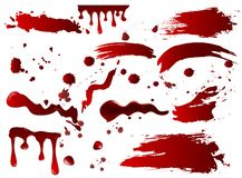 Verschiedenes Blut der Vektorillustrations-Sammlung oder rote Farbe plätschert und Stellen, die Halloween-Konzeptelemente, die an vektor abbildung