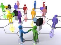 Verschiedenes Geschäftsnetz mit Computern Stockfoto