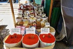 Verschiedenes Gewürz in Osh-Bazar lizenzfreie stockbilder