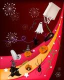 Verschiedenes Halloween-Einzelteil auf schönem Halloween-Hintergrund Stockfoto