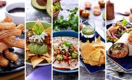 Verschiedenes mexikanisches Lebensmittelbuffet, Abschluss oben Lizenzfreies Stockfoto