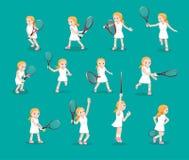 Verschiedenes Tennis wirft Mädchen-Karikatur-Vektor-Illustration auf lizenzfreie abbildung