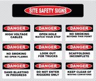 Verschiedenes Warnschild, Standortsicherheitszeichen Lizenzfreies Stockfoto
