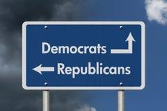 Verschil tussen Democraten en Republikeinen stock afbeelding