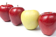 Verschillend ben - rode en gele appelen Stock Afbeelding