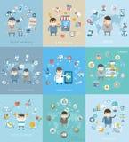 Verschillend concept voor zaken, geneeskunde, gezondheid Stock Foto's
