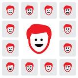 Verschillend emoties & gevoel van jonge man gezicht-vector grafisch vector illustratie