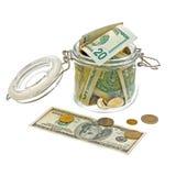 Verschillend geld in de glaskruik die op wit wordt geïsoleerde Royalty-vrije Stock Fotografie