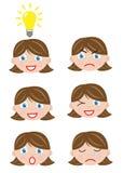 Verschillend gezichtenmeisje Royalty-vrije Stock Afbeeldingen