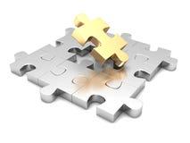 Verschillend gouden stuk van puzzelstructuur individuele te Royalty-vrije Stock Foto's