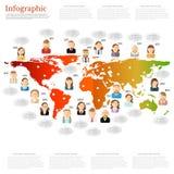 Verschillend mensenpictogram met toespraakbel dichtbij hen op de wereldkaart Stock Fotografie