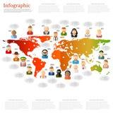 Verschillend mensenpictogram met toespraakbel dichtbij hen op de wereldkaart vlakke mededeling als achtergrond Stock Afbeeldingen
