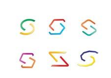 Verschillend Modern Abstract Kleurrijk Geometrisch Logo Letter S Stock Fotografie
