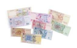 Verschillend modern bankbiljet van Oekraïense hryvnia op licht backgr Royalty-vrije Stock Afbeeldingen