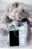 Verschillend objecten fot modern jongere Tablet, oortelefoons, Royalty-vrije Stock Afbeelding