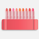 Verschillend palet van lippenstift Roze en andere Royalty-vrije Stock Afbeeldingen