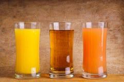 Verschillend sap in glas royalty-vrije stock afbeelding