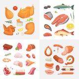 Verschillend soort de pictogrammen van het vleesvoedsel geplaatst vector De ruwe ham, vastgestelde grill chiken, stuk van varkens Royalty-vrije Stock Foto