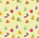 Verschillend soort fruit naadloze achtergrond in de vector van de kawaiistijl stock illustratie